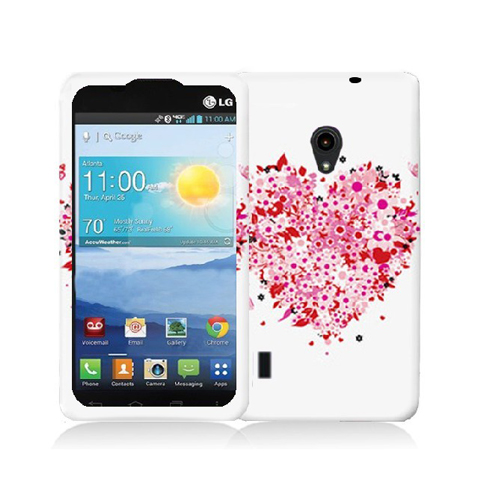 LG Lucid 2 VS870 Hearts Full of Flowers on White Hard Rubberized Design Case Cover