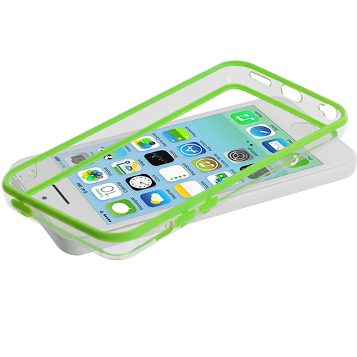 Apple iPhone 5C Neon Green / Clear TPU Bumper with Metal Buttons