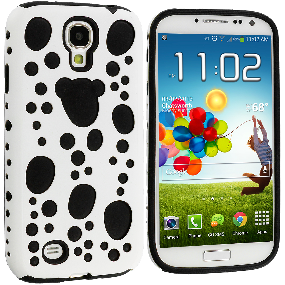 Samsung Galaxy S4 White / Black Hybrid Bubble Hard/Soft Skin Case Cover