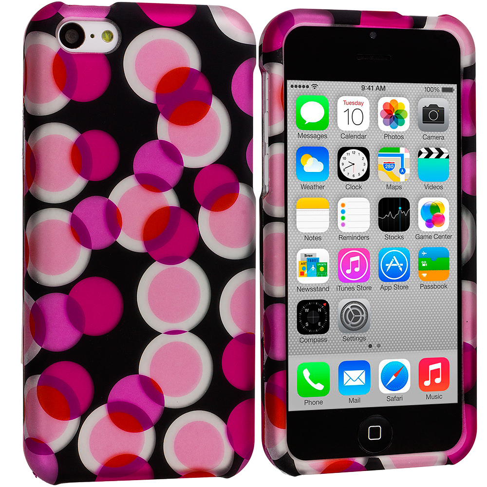 Apple iPhone 5C Hot Pink Bubbles Hard Rubberized Design Case Cover