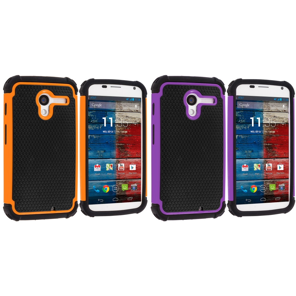 Motorola Moto X 2 in 1 Combo Bundle Pack - Purple / Orange Hybrid Rugged Hard/Soft Case Cover