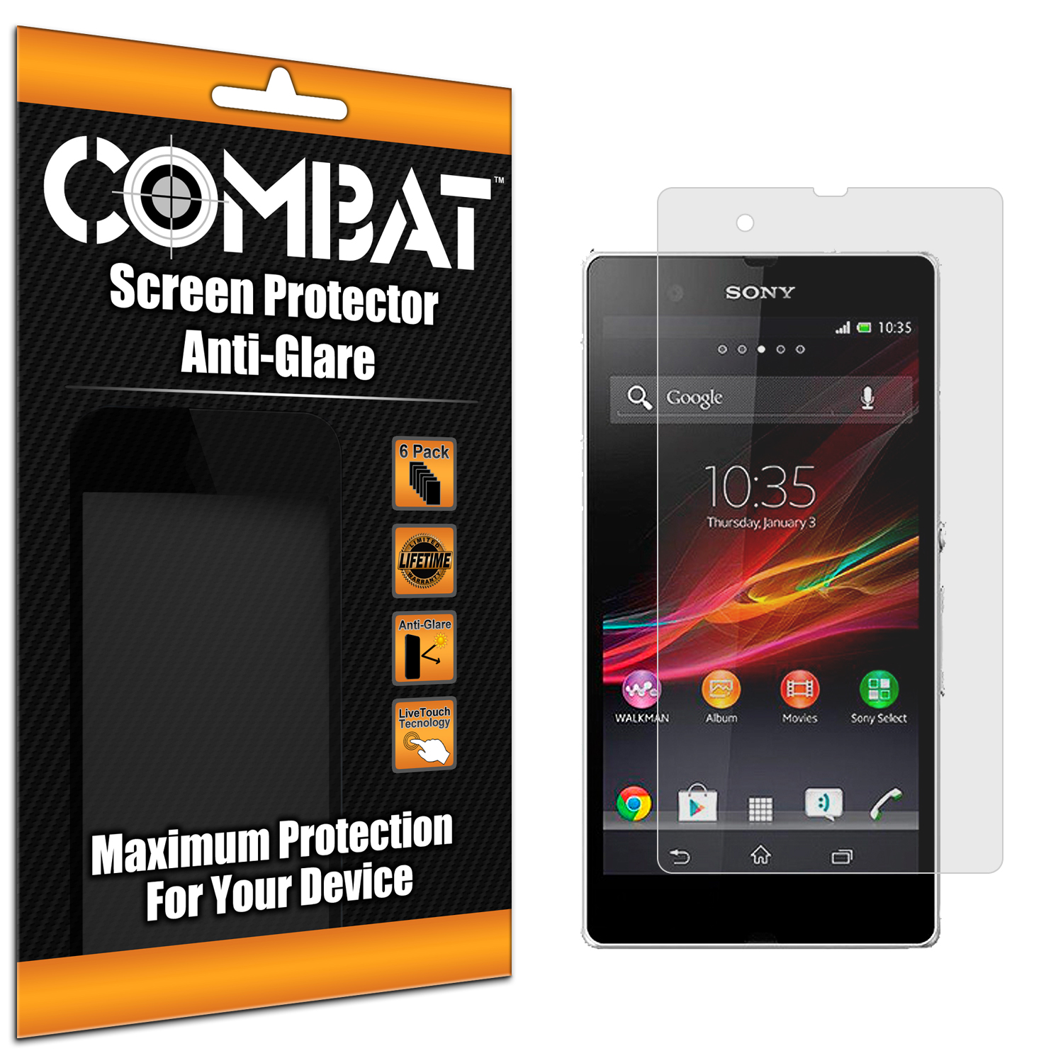 Sony Xperia Z Combat 6 Pack Anti-Glare Matte Screen Protector