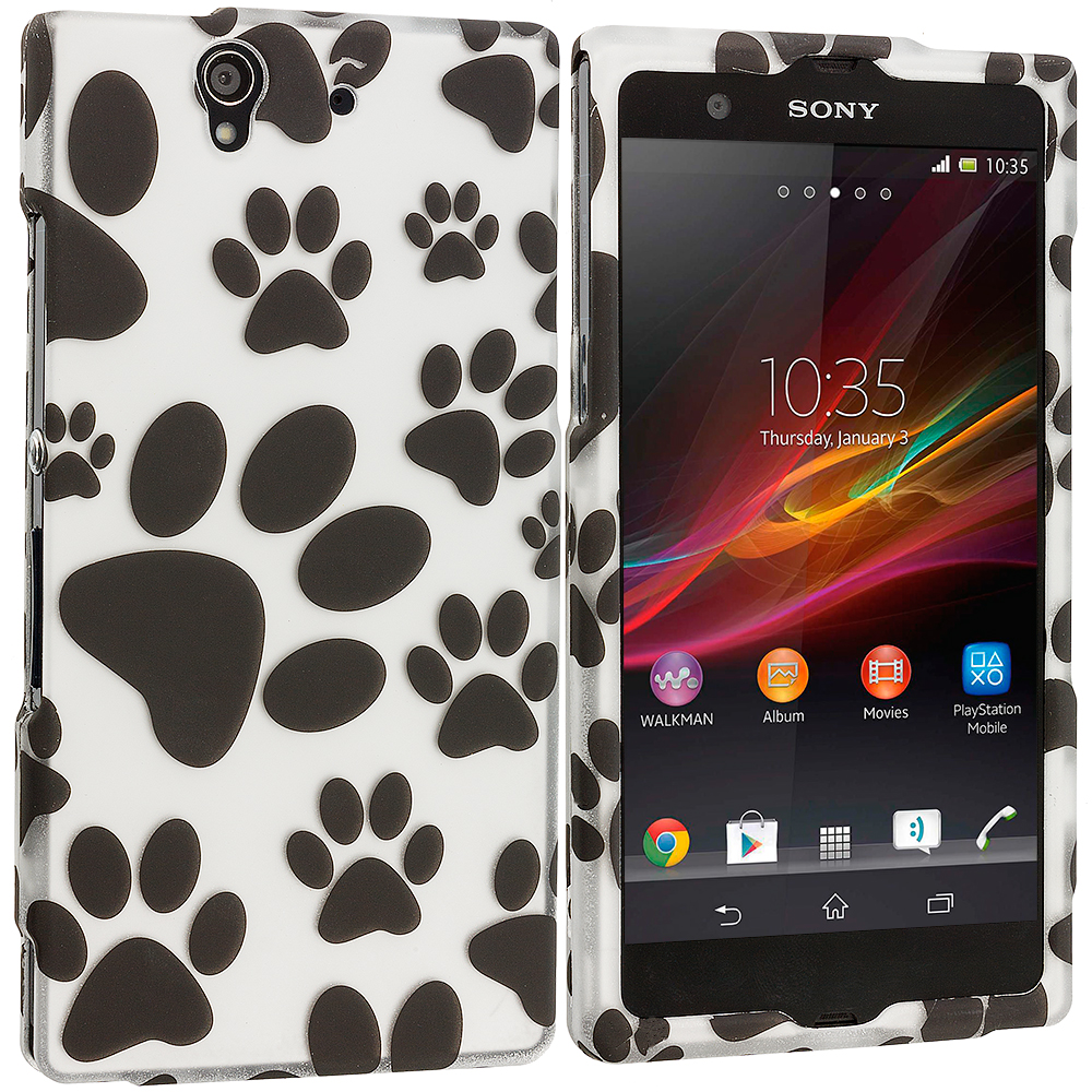 Sony Xperia Z Dog Paw 2D Hard Rubberized Design Case Cover