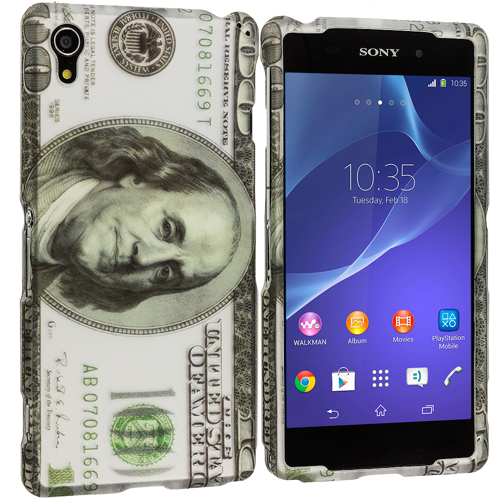 Sony Xperia Z2 Hundred Dollars 2D Hard Rubberized Design Case Cover
