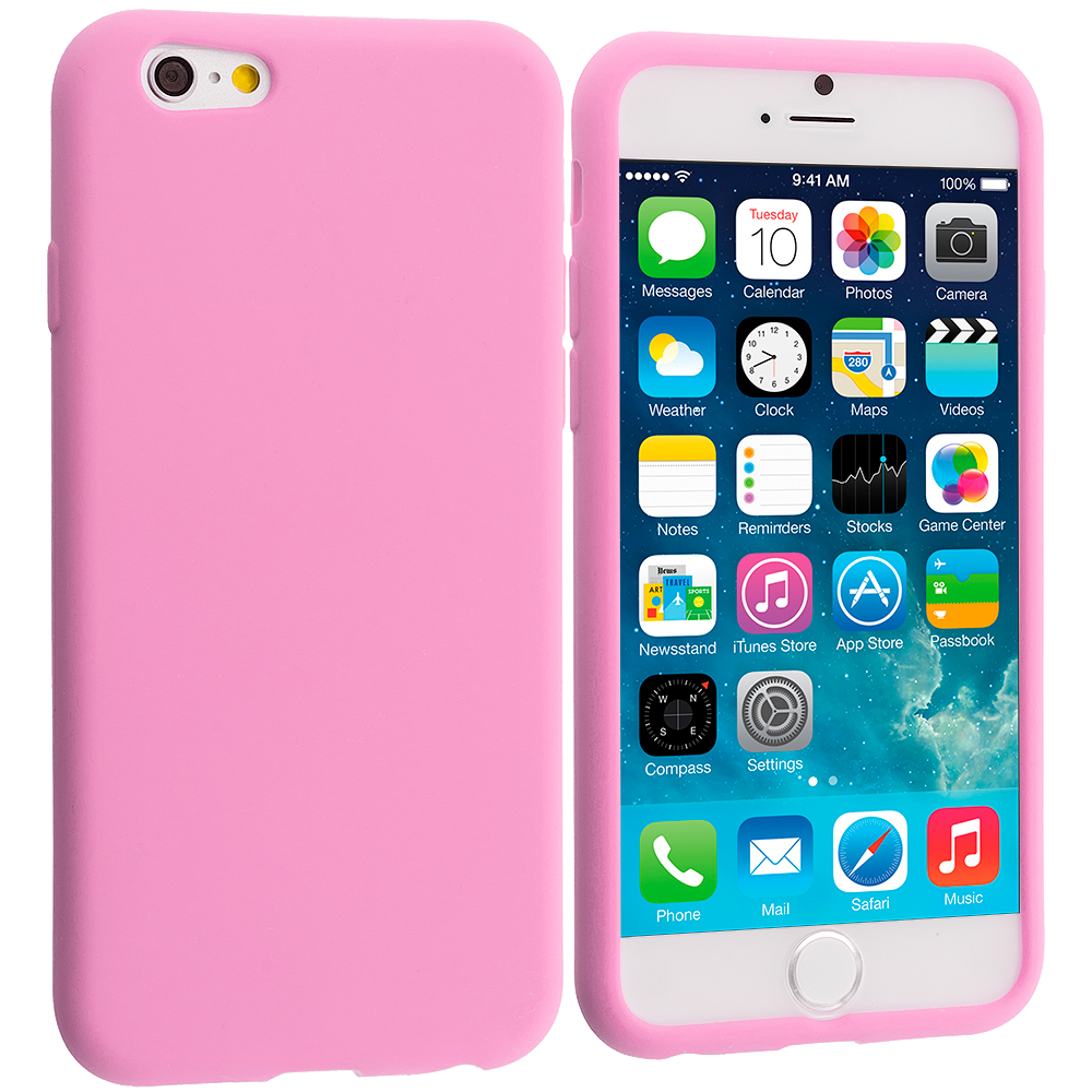 Apple iPhone 6 6S (4.7) 9 in 1 Combo Bundle Pack - Silicone Soft Skin Case Cover : Color Light Pink