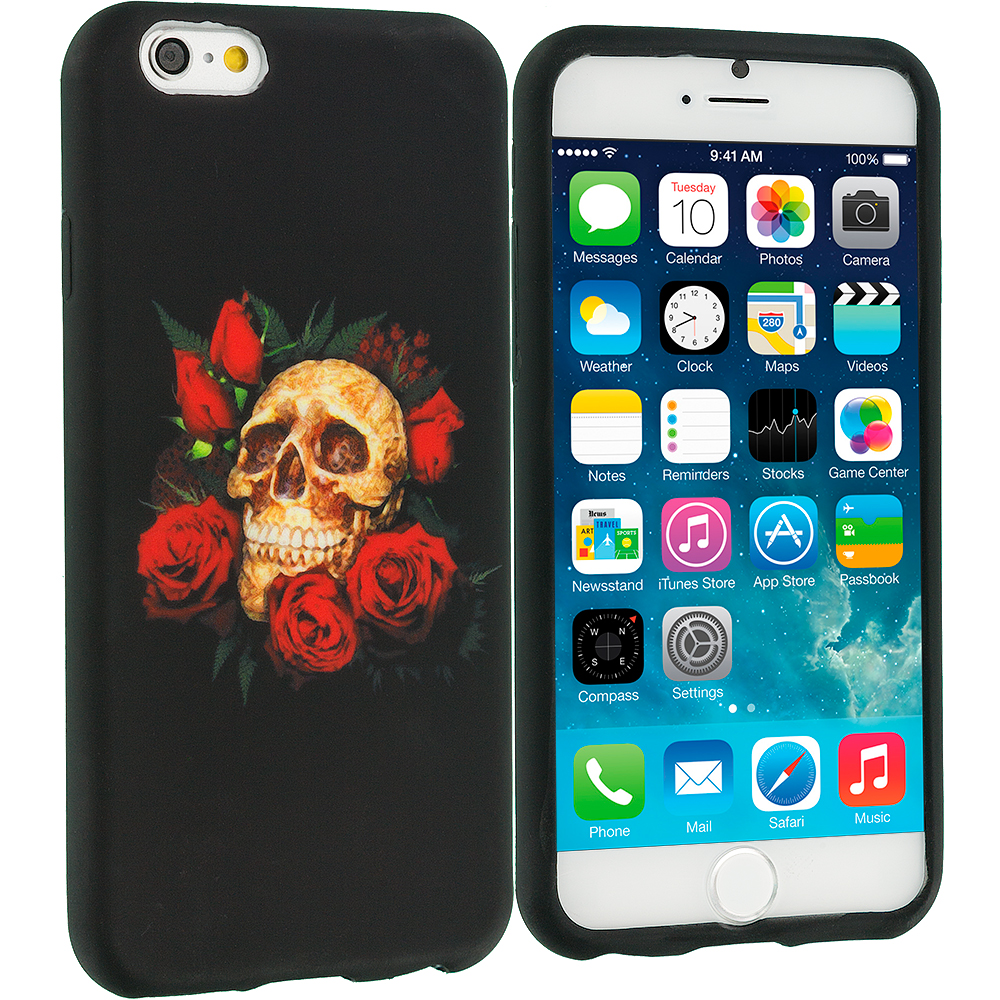 Apple iPhone 6 Red Rose Skull TPU Design Soft Case Cover