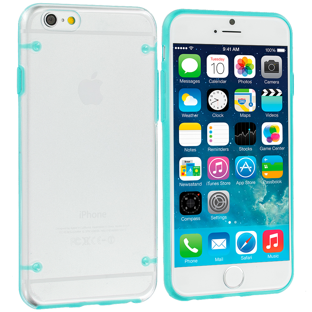 Apple iPhone 6 Plus 6S Plus (5.5) 8 in 1 Combo Bundle Pack - Crystal Robot Hard Case Cover : Color Baby Blue
