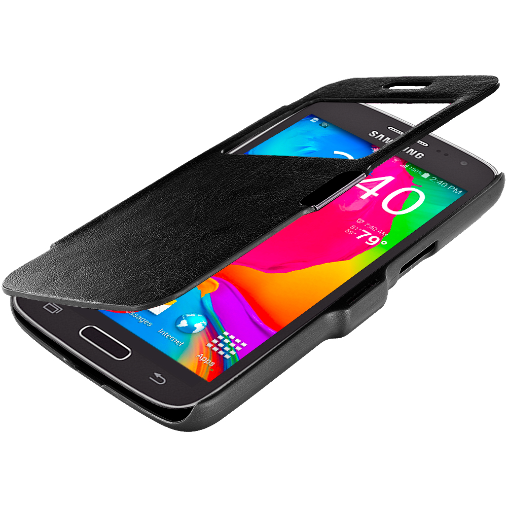 Samsung Galaxy Avant G386 Black (Open) Magnetic Flip Wallet Case Cover Pouch