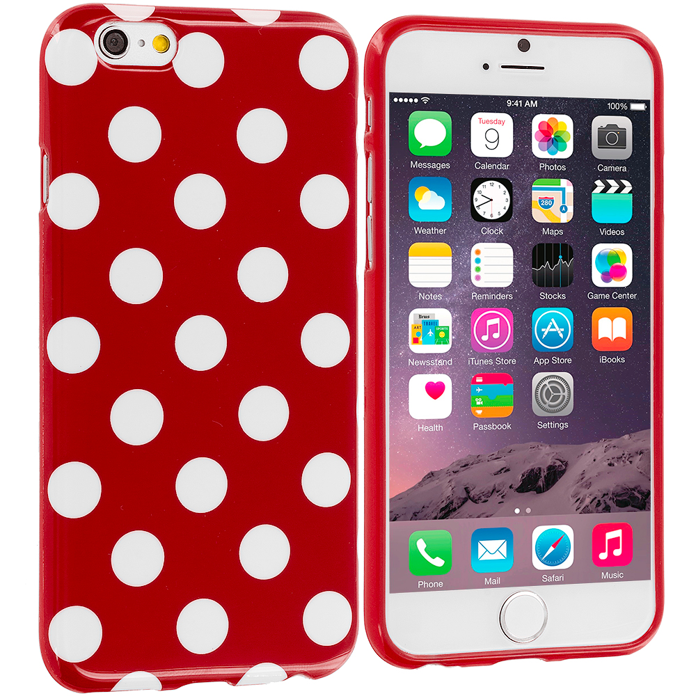 Apple iPhone 6 Plus 6S Plus (5.5) Red / White TPU Polka Dot Skin Case Cover
