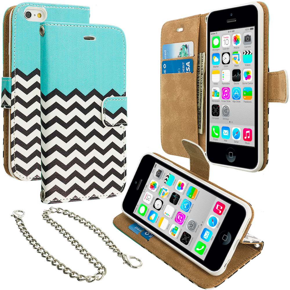 Apple iPhone 5C Mint Green Zebra Leather Wallet Pouch Case Cover with Slots