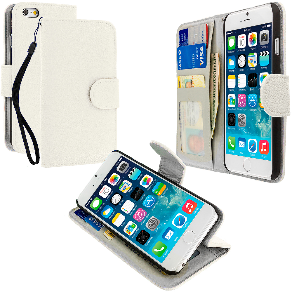 Apple iPhone 6 Plus 6S Plus (5.5) White Leather Wallet Pouch Case Cover with Slots