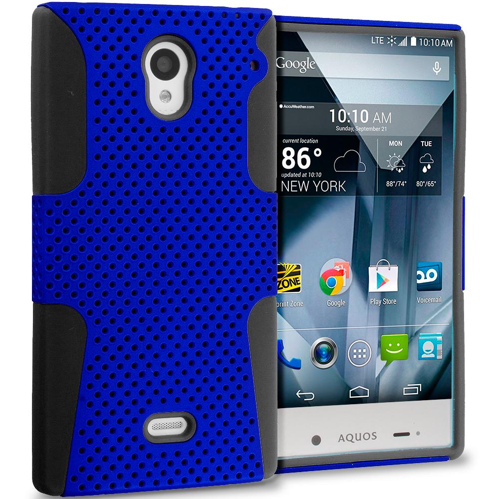 Sharp Aquos Crystal Black / Blue Hybrid Mesh Hard/Soft Case Cover