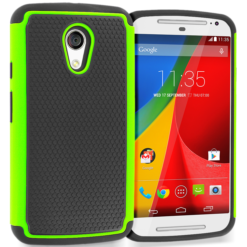 Motorola Moto G 2nd Gen 2014 Black / Neon Green Hybrid Rugged Grip Shockproof Case Cover