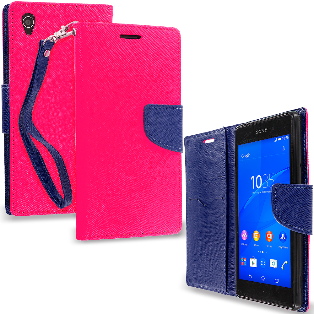 Sony Xperia Z3 Hot Pink / Navy Blue Leather Flip Wallet Pouch TPU Case Cover with ID Card Slots