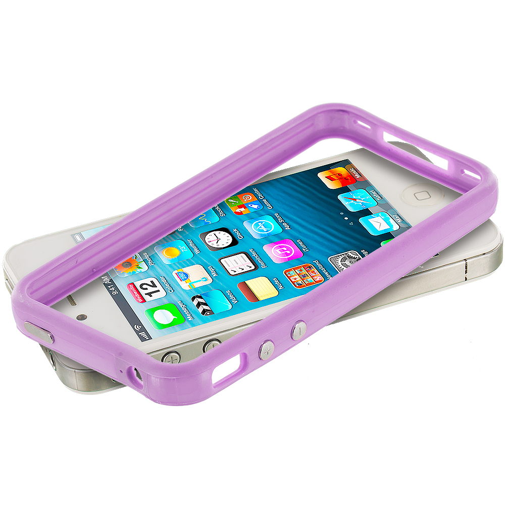 Apple iPhone 4 / 4S 2 in 1 Combo Bundle Pack - Dark Blue TPU Bumper Frame Case Cover : Color Light Purple