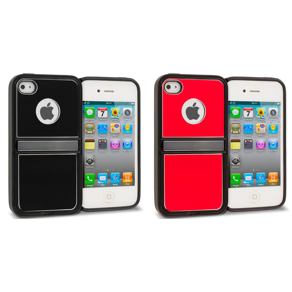 Apple iPhone 4 / 4S 2 in 1 Combo Bundle Pack - Red Black Brushed Stand Aluminum Metal Hard Case Cover