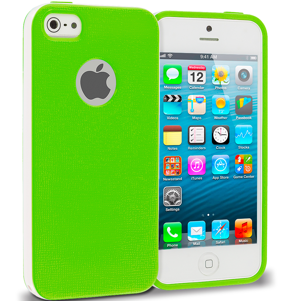 Apple iPhone 5/5S/SE Combo Pack : Green Hybrid TPU Bumper Case Cover : Color Green