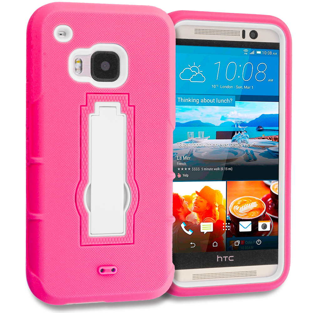 HTC One M9 Hot Pink / White Hybrid Heavy Duty Hard Soft Case Cover with Kickstand