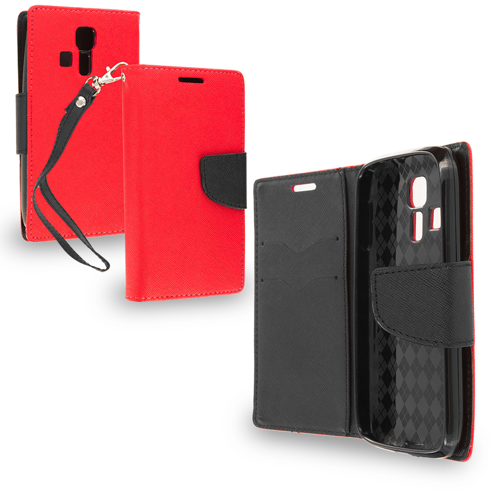 Kyocera Hydro Icon / Hydro Life Red / Black Leather Flip Wallet Pouch TPU Case Cover with ID Card Slots