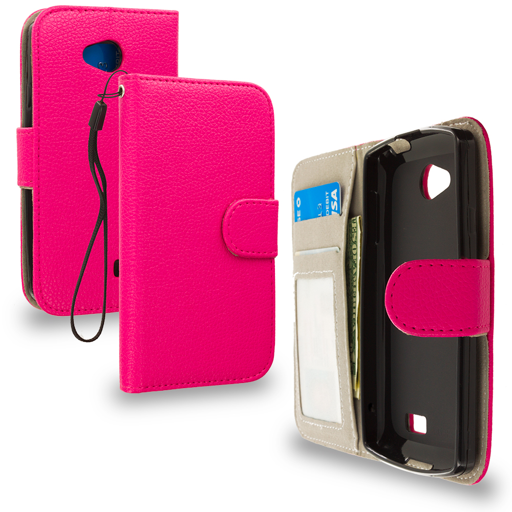 LG Transpyre Tribute F60 Hot Pink Leather Wallet Pouch Case Cover with Slots