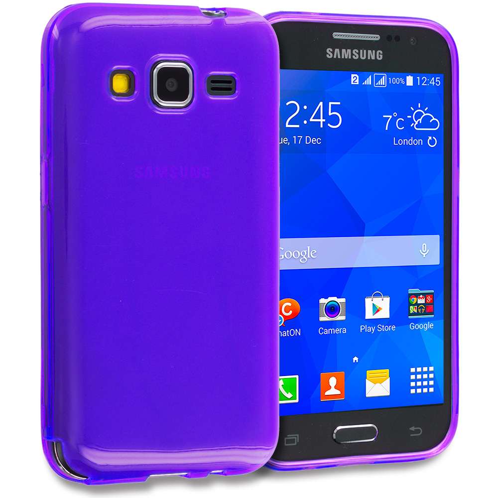 Samsung Galaxy Prevail LTE Core Prime G360P 2 in 1 Combo Bundle Pack - Clear TPU Rubber Skin Case Cover : Color Purple