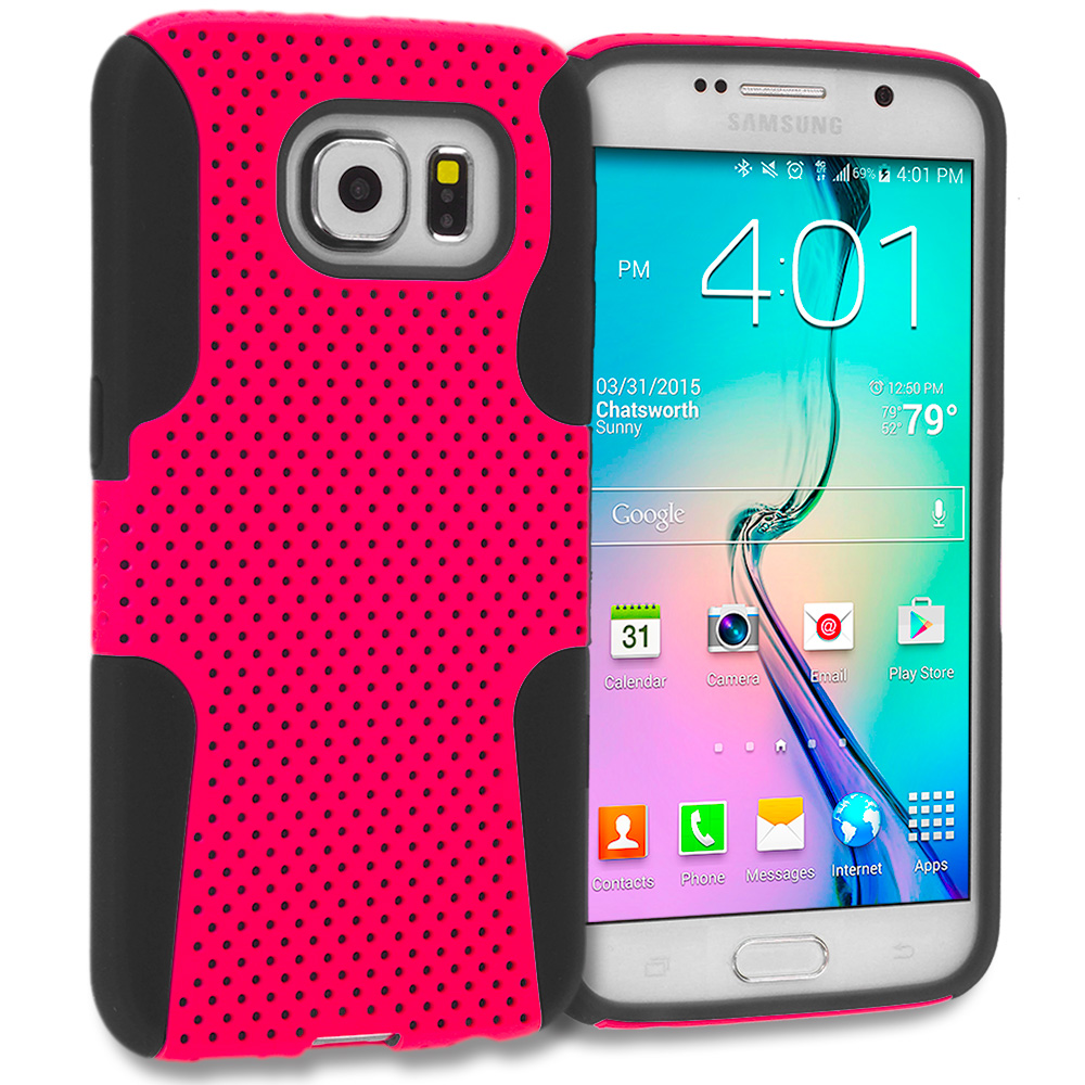 Samsung Galaxy S6 3 in 1 Combo Bundle Pack - Hybrid Mesh Hard/Soft Case Cover : Color Black / Hot Pink