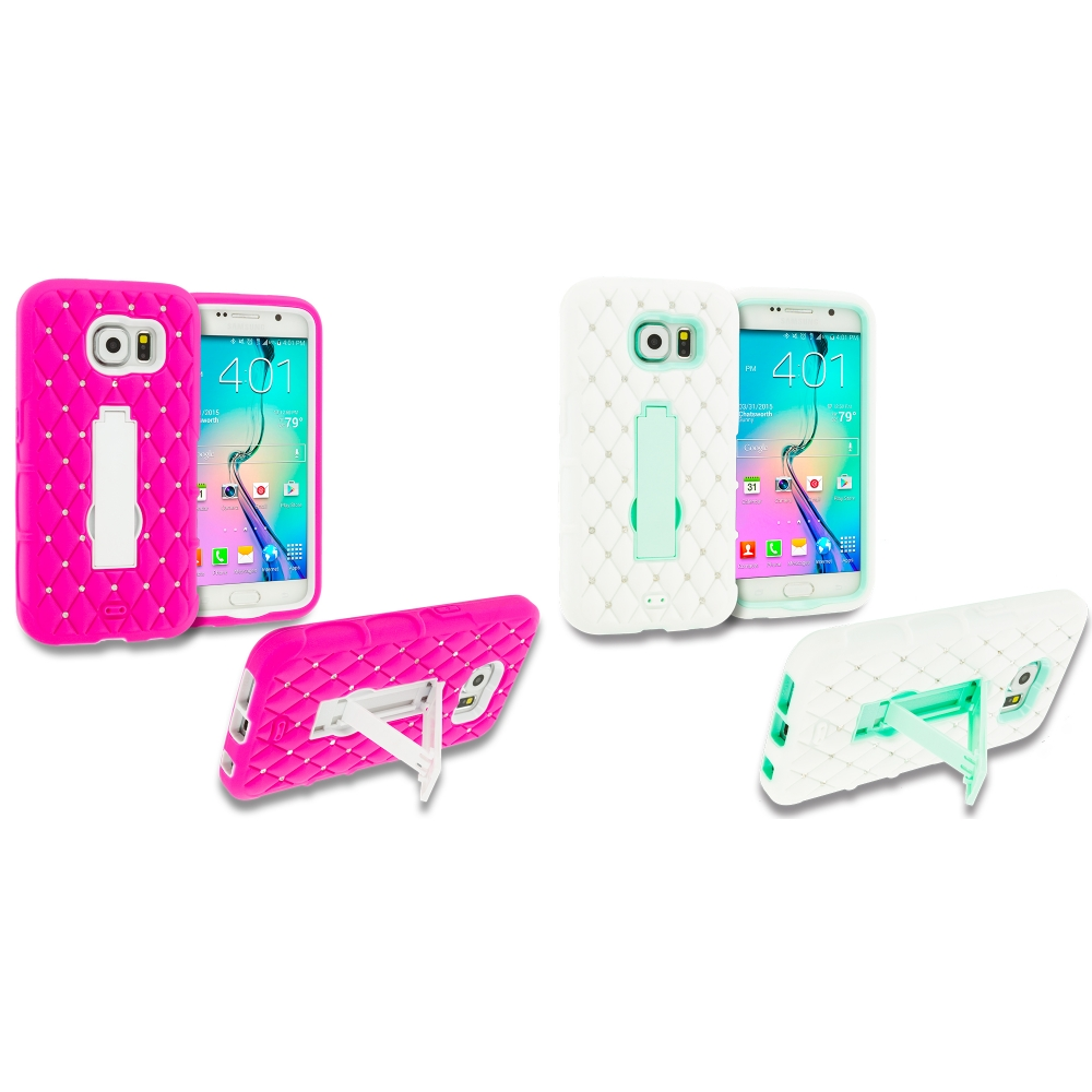 Samsung Galaxy S6 Combo Pack : Hot Pink / White Hybrid Diamond Bling Hard Soft Case Cover with Kickstand