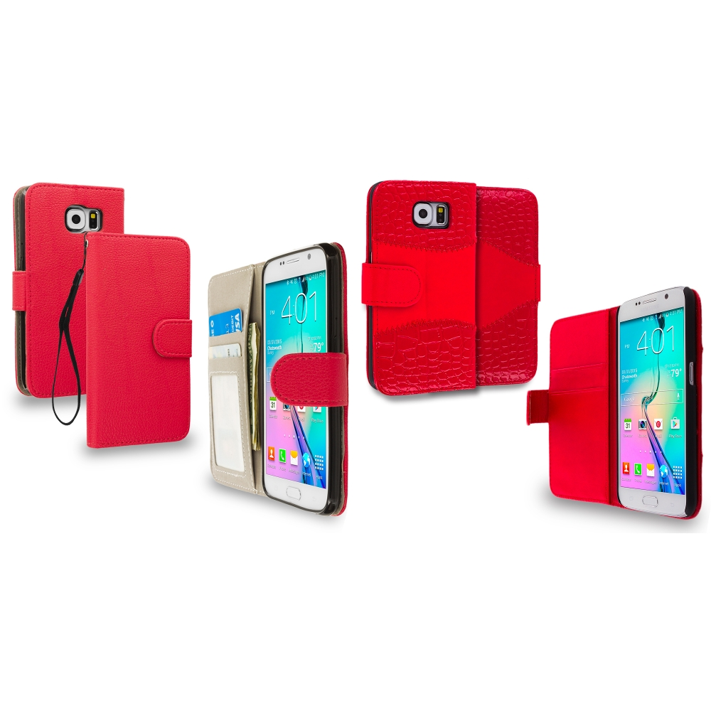 Samsung Galaxy S6 2 in 1 Combo Bundle Pack - Crocodile Leather Wallet Pouch Case Cover with Slots