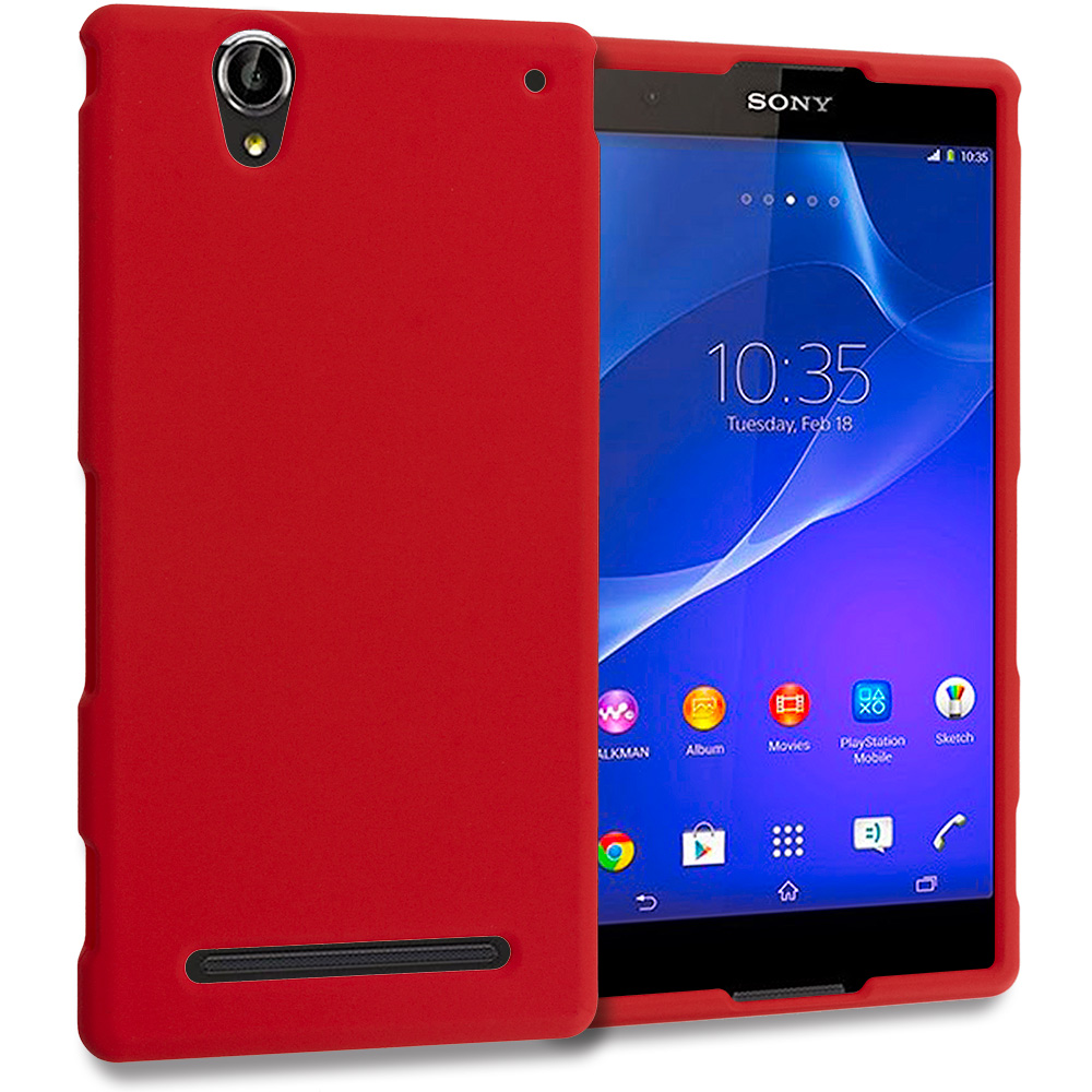 Sony Xperia T2 Ultra D5303 Red Hard Rubberized Case Cover