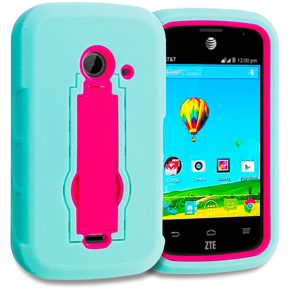 ZTE Zinger Prelude 2 Z667 Teal / Hot Pink Hybrid Heavy Duty Hard Soft Case Cover with Kickstand
