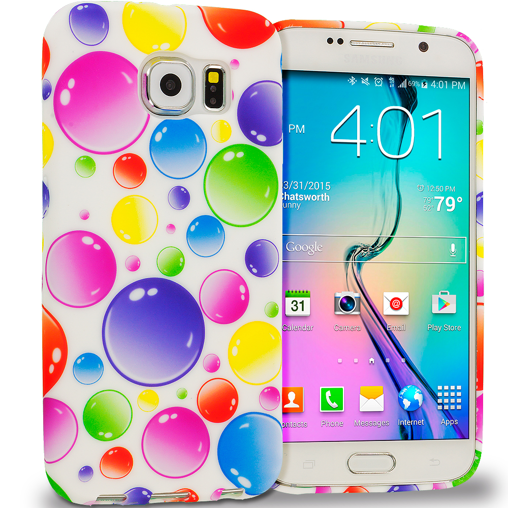 Samsung Galaxy S6 Combo Pack : SuperStar TPU Design Soft Rubber Case Cover : Color Bubbles