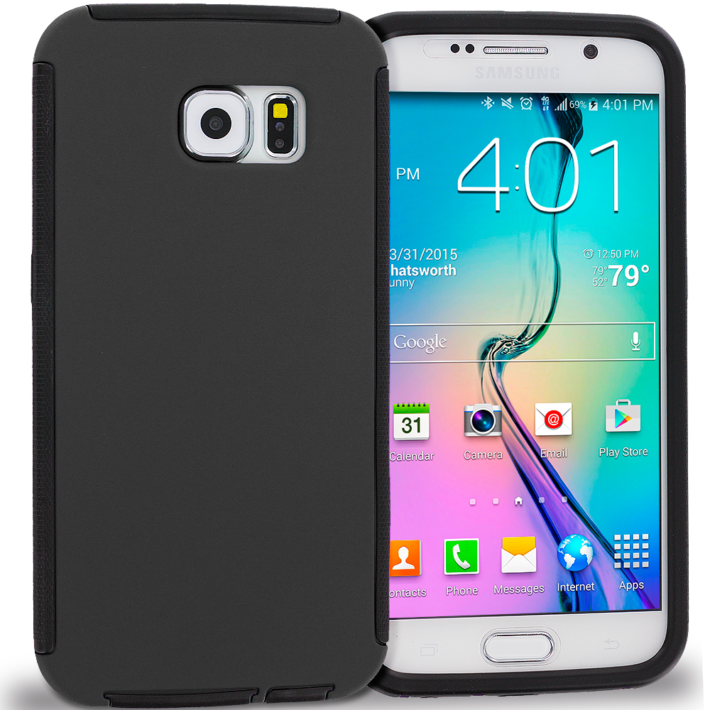 Samsung Galaxy S6 Black / Black Hybrid Hard TPU Shockproof Case Cover With Built in Screen Protector