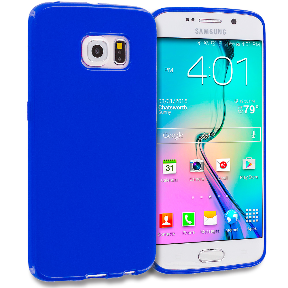 Samsung Galaxy S6 Edge Blue Solid TPU Rubber Skin Case Cover