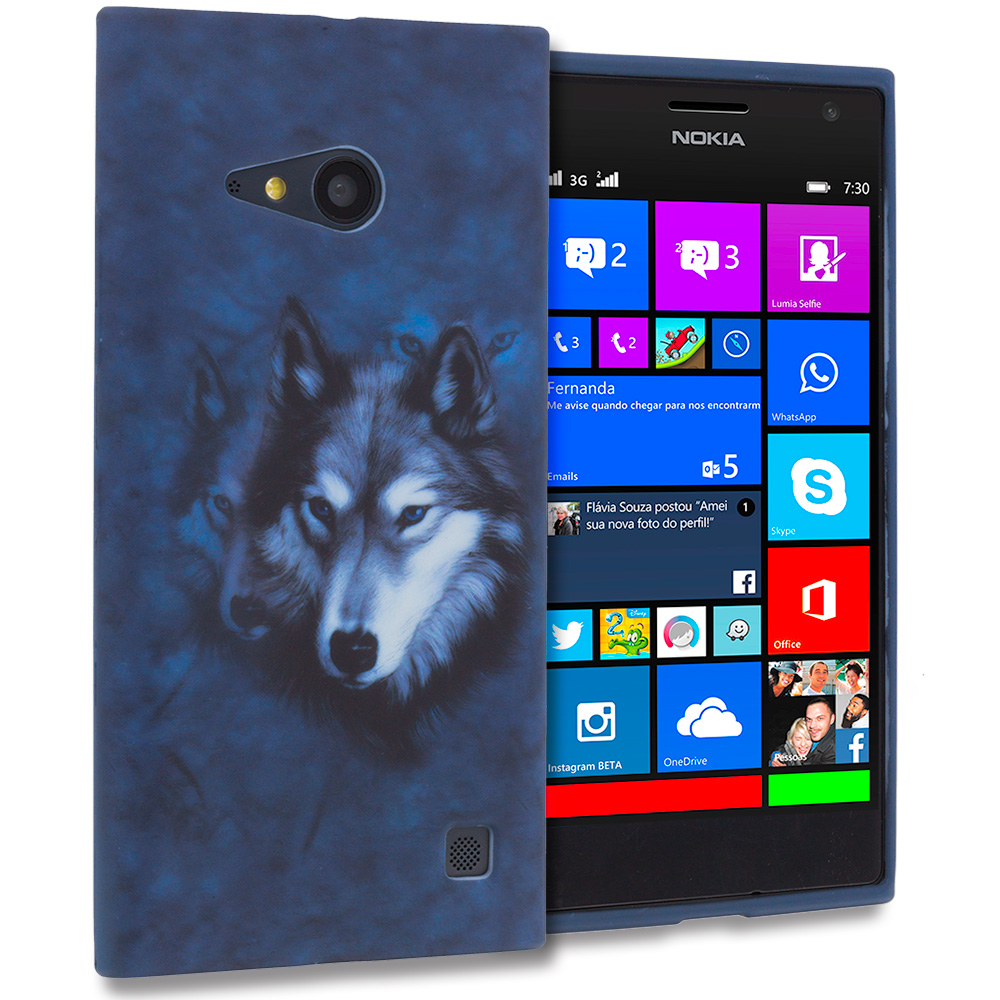 Nokia Lumia 730 735 Wolf TPU Design Soft Rubber Case Cover