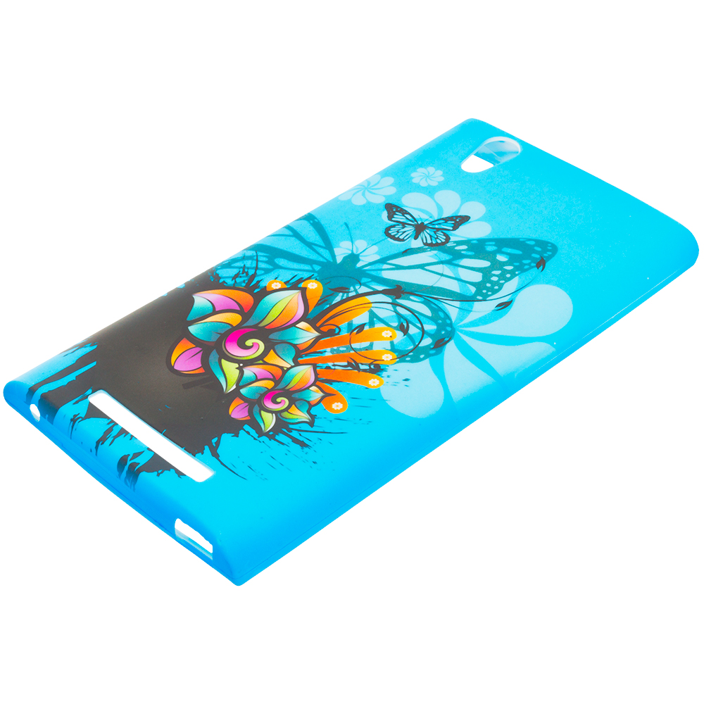 ZTE Zmax Blue Butterfly Flower TPU Design Soft Rubber Case Cover
