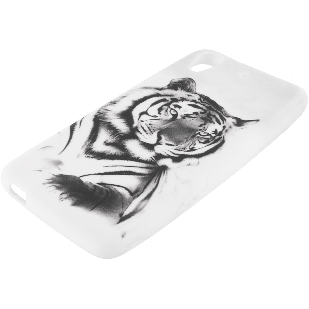 HTC Desire 626 / 626s White Tiger TPU Design Soft Rubber Case Cover