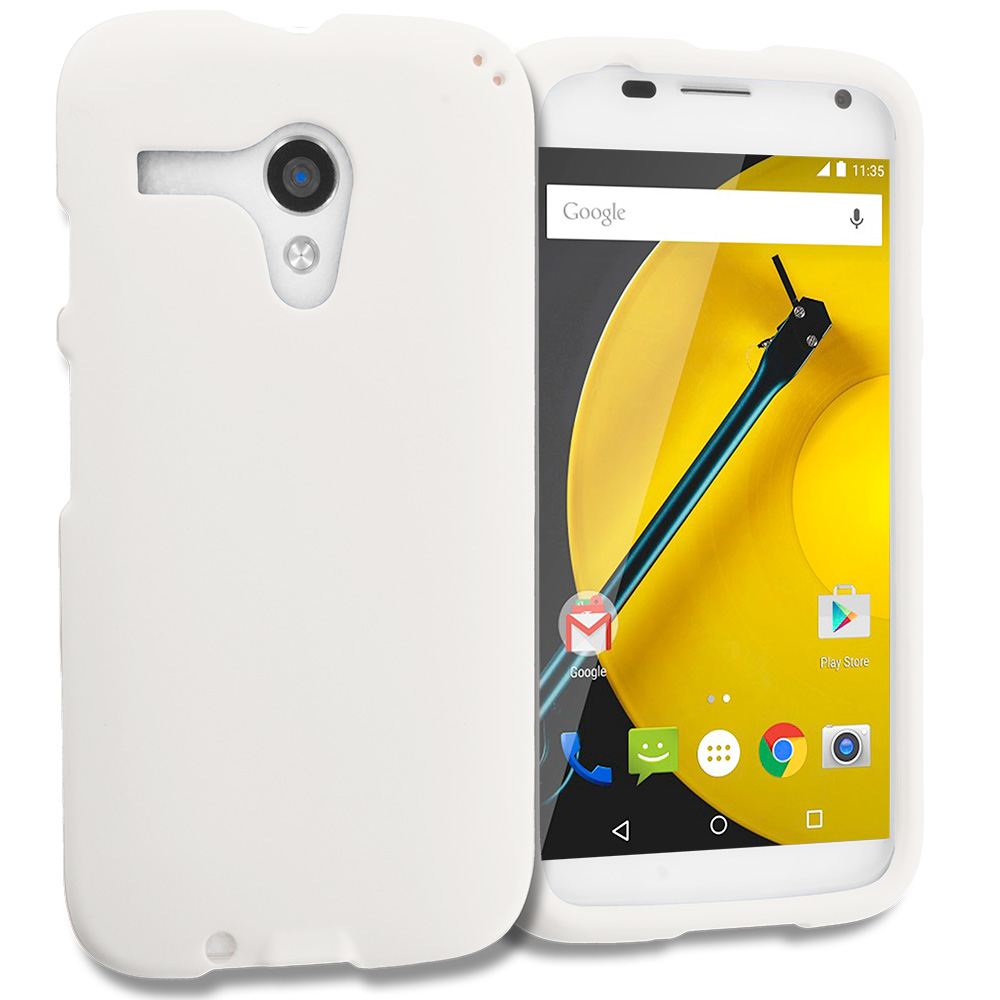 Motorola Moto E LTE 2nd Generation White Hard Rubberized Case Cover