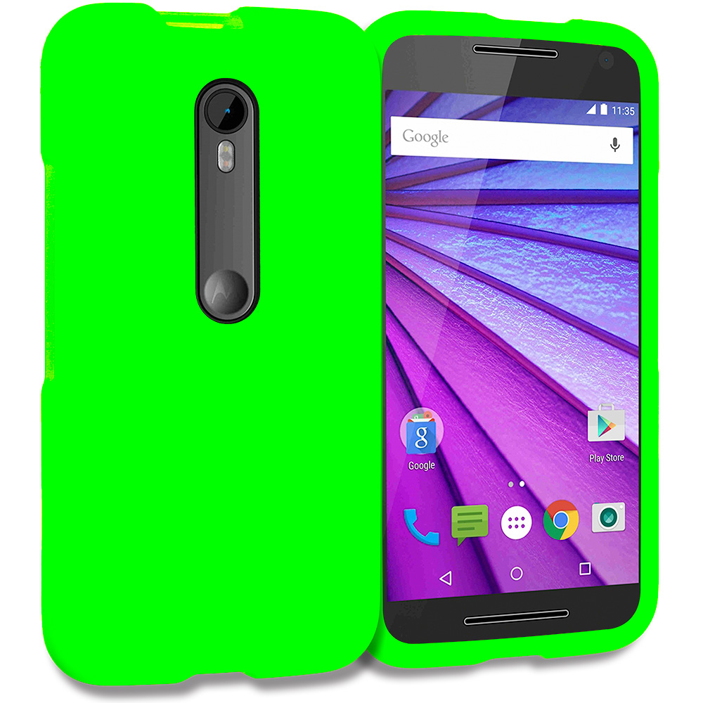 Motorola Moto G 3rd Gen 2015 Neon Green Hard Rubberized Case Cover