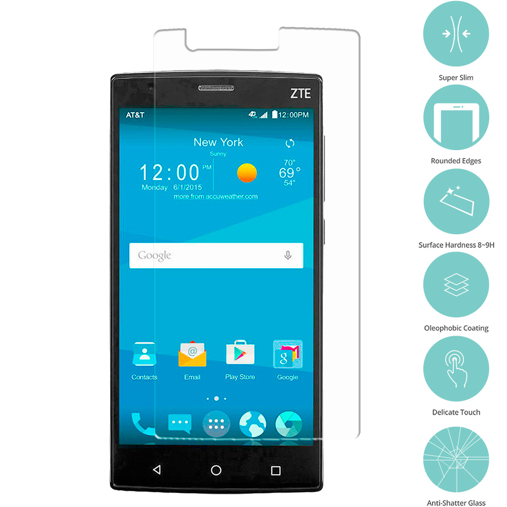 ZTE Zmax 2 Clear Tempered Glass Film Screen Protector Clear