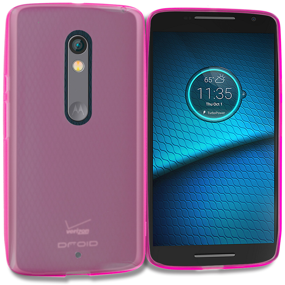 Motorola Droid Maxx 2 XT1565 Hot Pink TPU Rubber Skin Case Cover