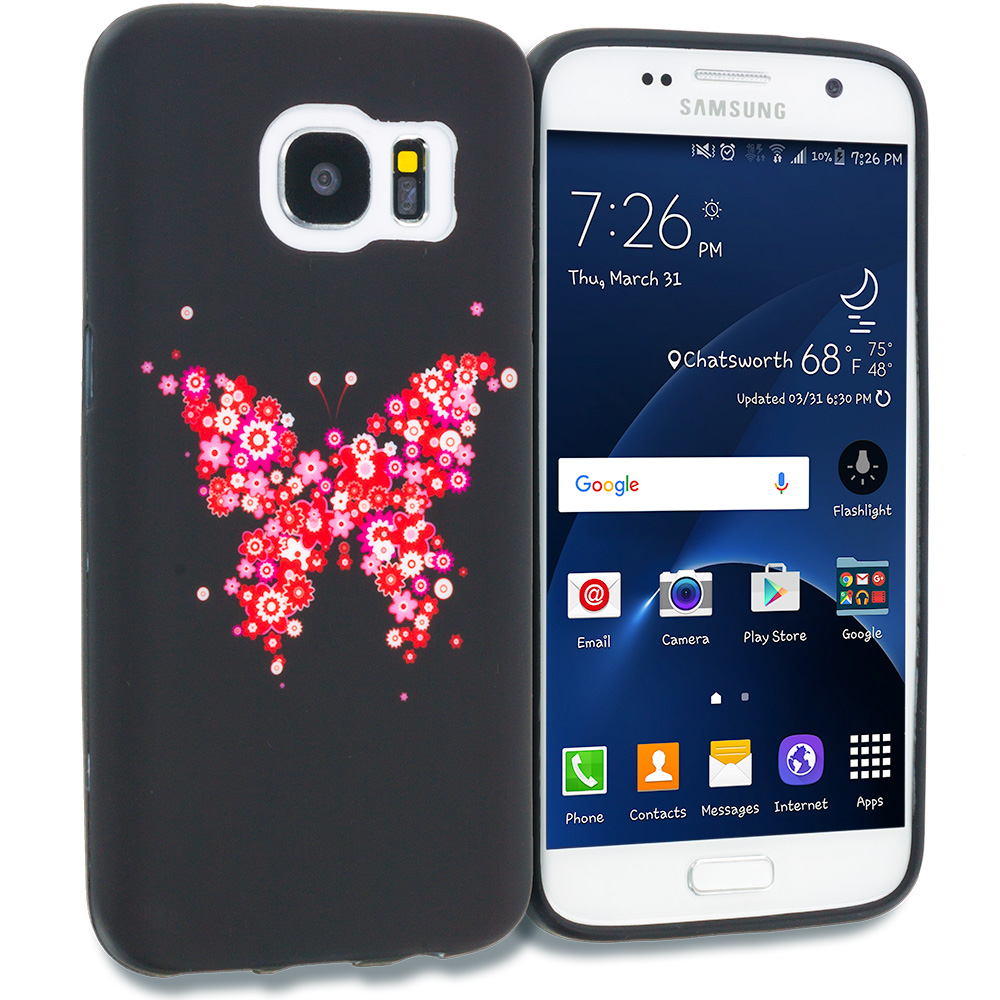 Samsung Galaxy S7 Combo Pack : Black Purple Butterfly TPU Design Soft Rubber Case Cover : Color Butterfly Hearts
