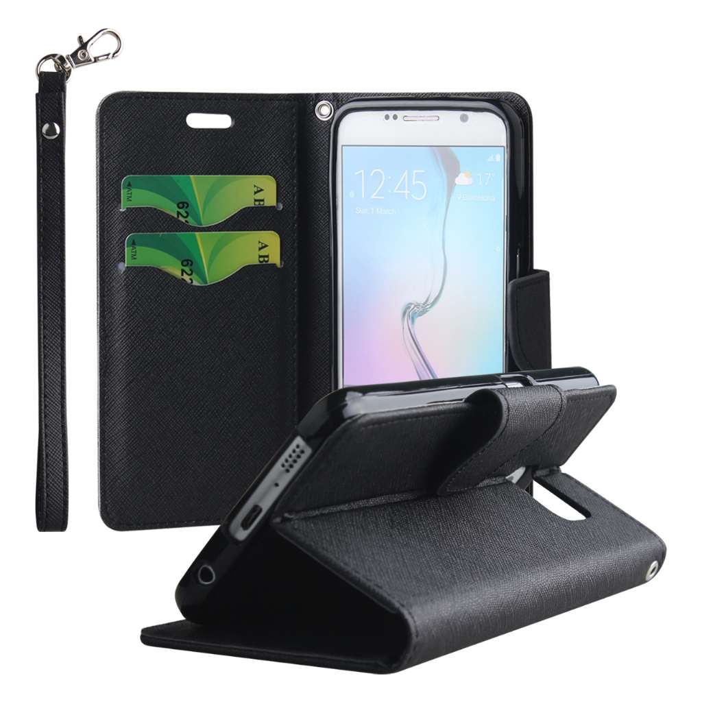 Samsung Galaxy S6 - Black MPERO FLEX FLIP 2 Wallet Stand Case Cover