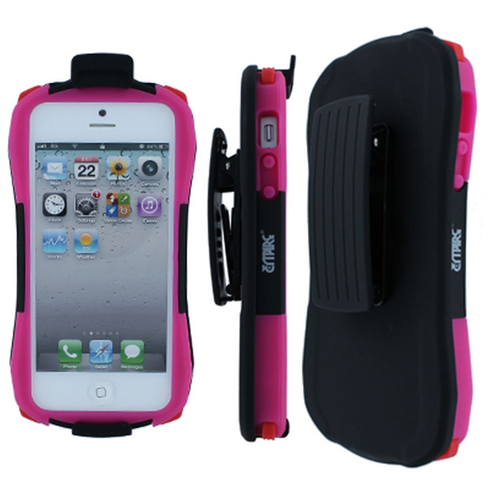 iPhone 5 MPERO Hot Pink and Black Tough Armor Belt Clip Holster Stand Case