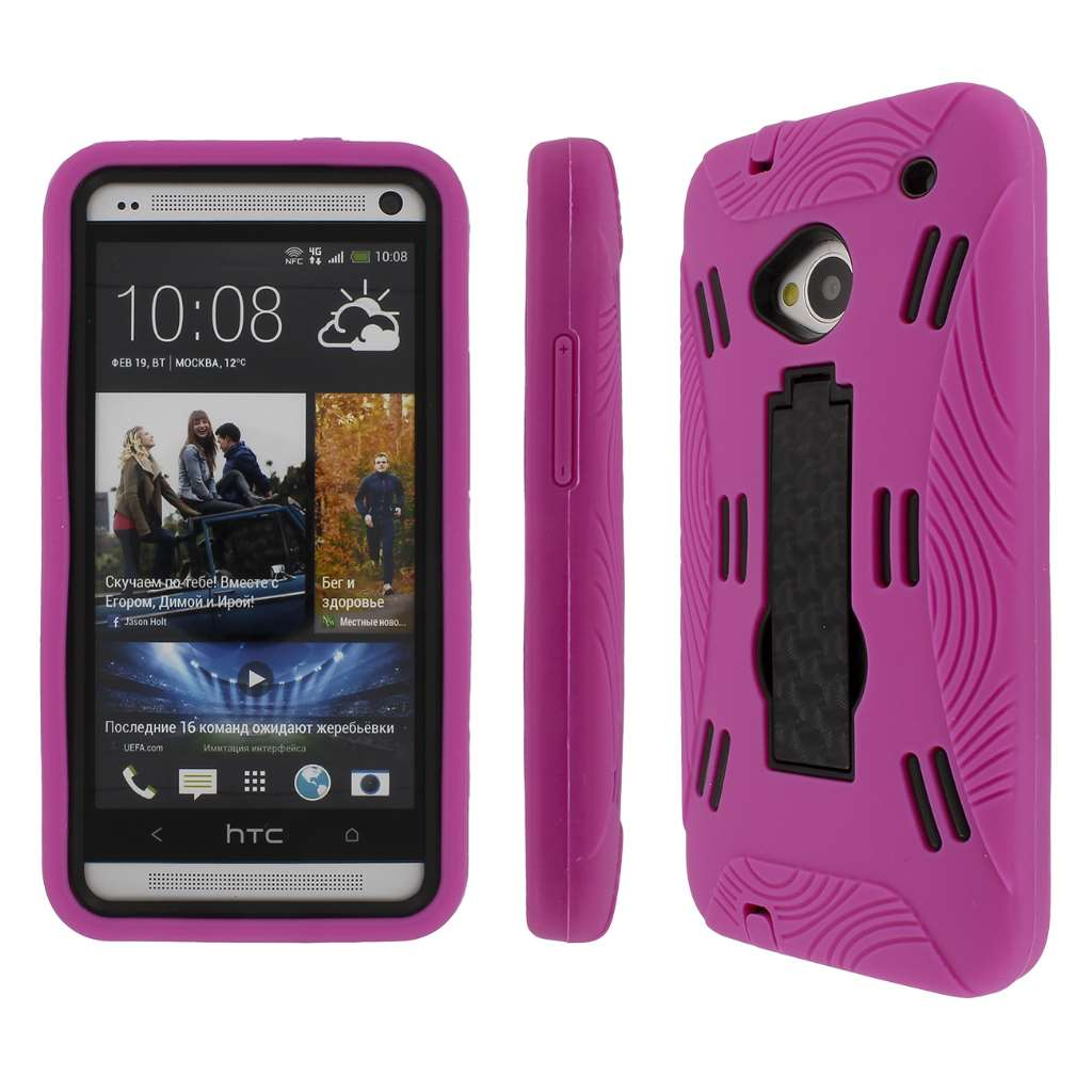 HTC One- HOT PINK/ BLACK MPERO IMPACT XL - Kickstand Case Cover