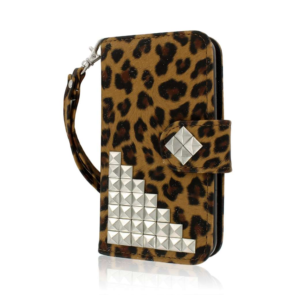 LG Optimus L90 - Studded Leopard MPERO FLEX FLIP Wallet Case Cover