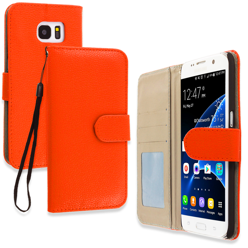 Samsung Galaxy S7 Edge Orange Leather Wallet Pouch Case Cover with Slots