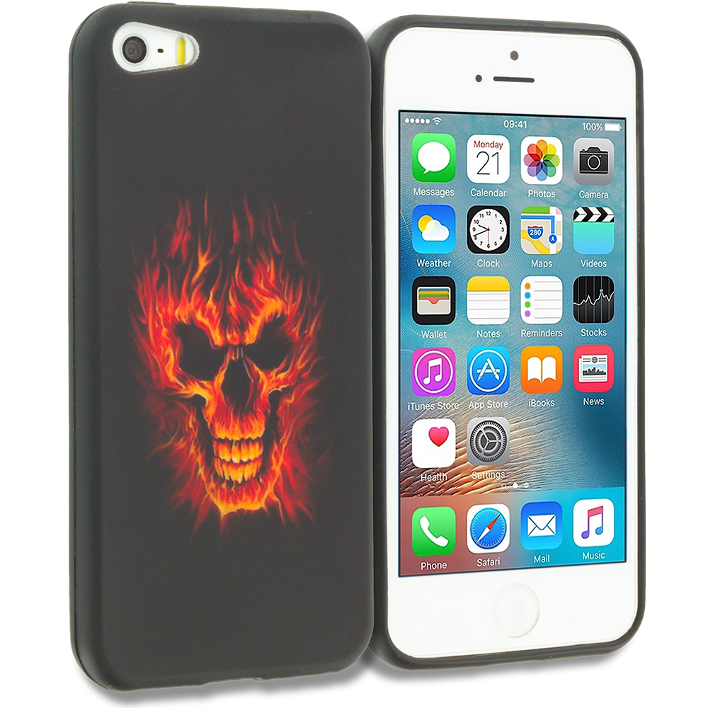 Apple iPhone 5/5S/SE Fire Skull TPU Design Soft Rubber Case Cover