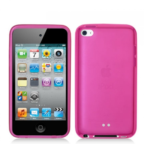 Apple iPod Touch 4th Generation Hot Pink Gummy TPU Rubber Skin Case Cover