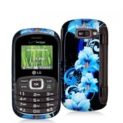 LG Octane VN530 Blue Flower Design Crystal Hard Case Cover