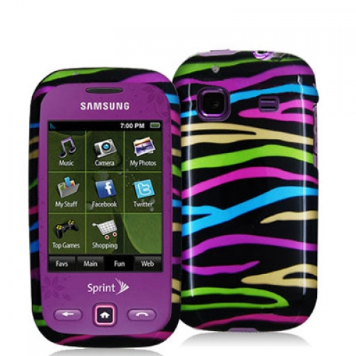 Samsung Trender M380 Rainbow Zebra on Black Design Crystal Hard Case Cover
